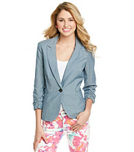 Chord® Juniors' Floral Cuffed Chambray Jacket