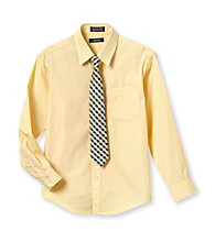 Izod® Boys' 8-20 Yellow Dress Shirt with Checked Tie