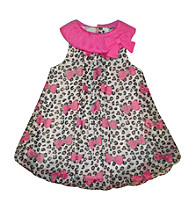 Baby Essentials® Baby Girls' Grey/Pink Animal Print Bubble Romper