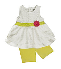 Baby Essentials® Baby Girls' White/Lime 2-pc. Sleeveless Top with Bike Shorts