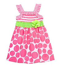 Rare Editions® Girls' 2T-4T Neon Pink/Lime Dot Smocked Dress