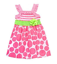 Rare Editions® Girls' 4-6X Neon Pink/Lime Dot Smocked Dress