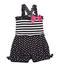 Rare Editions® Girls' 4-6X Black/White Dotted Romper