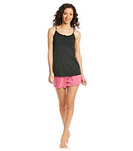 Relativity® Knit Cami/Short Set - Black/Pink Dots