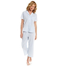 Miss Elaine® Seersucker Pajama Set - Blue Stripe