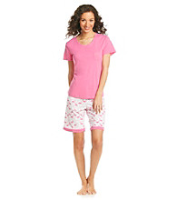 Intimate Essentials® Knit Bermuda Set - Pink Flamenco