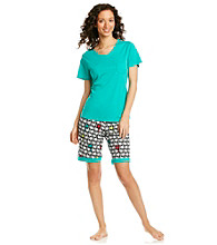 Intimate Essentials® Knit Bermuda Set - Turquoise Palms