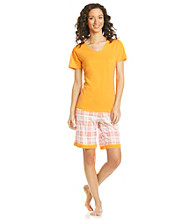 Intimate Essentials® Knit Bermuda Set - Coral Plaid
