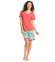 Intimate Essentials® Knit Bermuda Set - Red/Lime Fruit