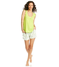 Intimate Essentials® Knit Short Set - Lime Flamenco