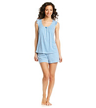 Intimate Essentials® Knit Short Set - Blue/White Stripe