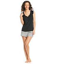 Intimate Essentials® Knit Short Set - Black Ditsy