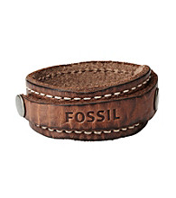 Fossil® Men's Luggage Strap Bracelet with Logo Embossing