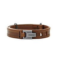 Fossil® Men's Brown Leather Bracelet with Hook Closure