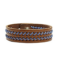 Fossil® Men's Brown Weave Leather Bracelet with Navy Whip Stitching