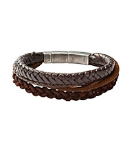 Fossil® Men's Three Strands of Braided Leather Wrist Wrap with Steel Closure