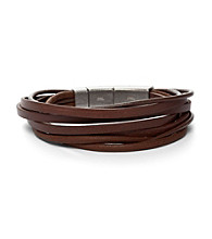 Fossil® Men's Five Strands of Braided Leather Wrist Wrap with Steel Closure