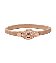 Fossil® Nude Leather Bangle with Rose Goldtone Turnlock