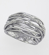 Effy® .21 ct. t.w. Diamond Ring in Brushed Silver