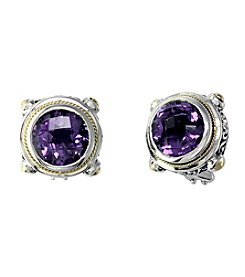 Effy® Amethyst Earrings in Sterling Silver and 18K Gold