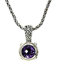 Effy® Amethyst Pendant in Silver and 18K Gold