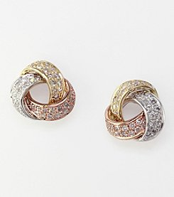 Effy® .42 ct. t.w. Diamond Love Knot Earrings in 14K Tri-Color Gold