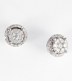 Effy® .49 ct. t.w. Diamond Cluster Earrings in 14K White Gold
