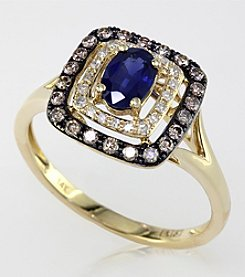 Effy® Sapphire and .31 ct. t.w. Diamond Ring in 14K Yellow Gold