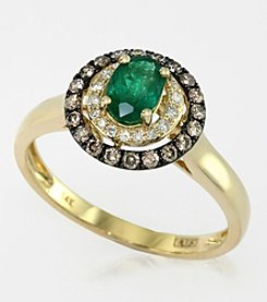 Effy® Emerald and .28 ct. t.w. Diamond Ring in 14K Yellow Gold