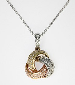 Effy® .29 ct. t.w. Diamond Love Knot Pendant in 14K Tri-Color Gold
