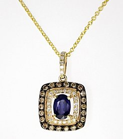 Effy® Sapphire and .33 ct. t.w. Diamond Pendant in 14K Yellow Gold