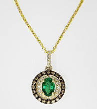 Effy® Emerald and Diamond .43 ct. t.w. Pendant in 14K Yellow Gold