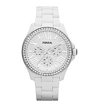 Fossil® Cecile White Acetate and Silvertone Multi Function Watch