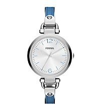 Fossil® Georgia Blue Leather and Stainess Steel Watch