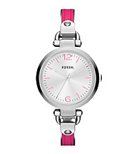 Fossil® Georgia Pink Leather and Stainess Steel Watch