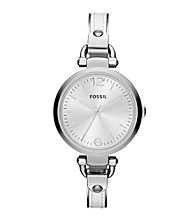 Fossil® Georgia White Leather and Stainess Steel Watch