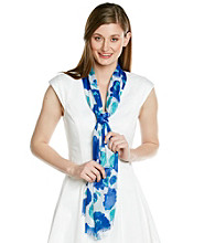 Basha Blue Fringed Abstract Floral Neckwrap