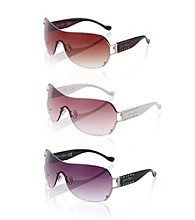 Jessica Simpson Metal Rhinestone Vent Shield Sunglasses