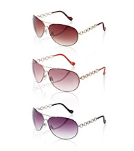 Jessica Simpson Metal Aviator Chain Temple Sunglasses