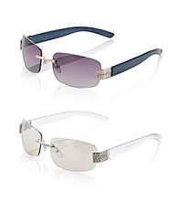 Relativity® Metal Medium Rectangle Rimless Sunglasses
