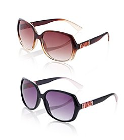 Relativity® Plastic Large Oval Sunglasses