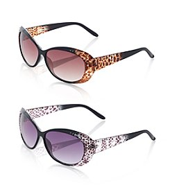 Relativity® Plastic Medium Round Cat Eye Sunglasses