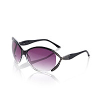 Relativity® Black Plastic Large Sunglasses with Metal Bow