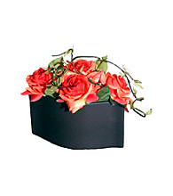 Vickerman Tangerine Roses in Matte Black Ceramic Container