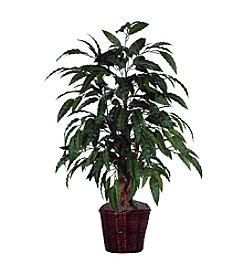 Vickerman 4' Mango Bush Potted in Dark Brown Rattan Basket