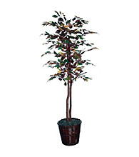 Vickerman 6' Mystic Ficus Tree in Dark Brown Rattan Basket