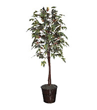 Vickerman Frosted Maple Tree in Dark Brown Rattan Basket