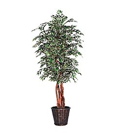 Vickerman 6' Variegated Smilax in Dark Brown Rattan Basket