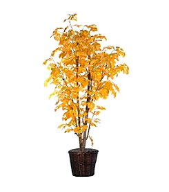 Vickerman 6' Yellow Aspen  in Dark Brown Rattan Basket