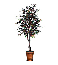 Vickerman 6' Mystic Ficus in Heartland Round Metal Container